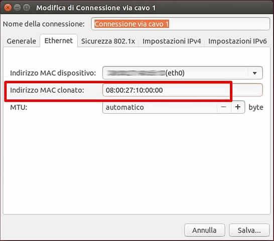 Come modificare indirizzo MAC