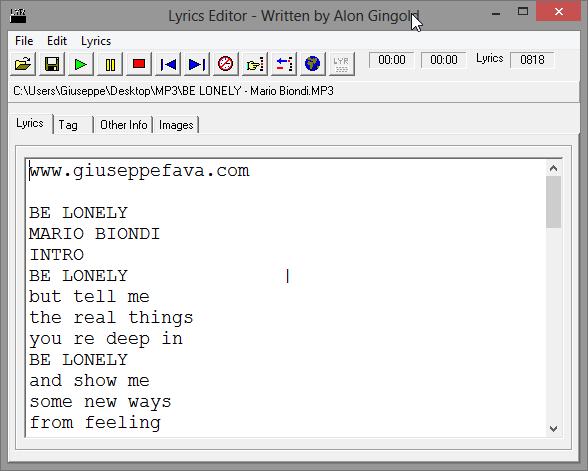 inserire testo in mp3