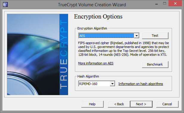 TrueCrypt Volume Creation Wizard-algoritmo