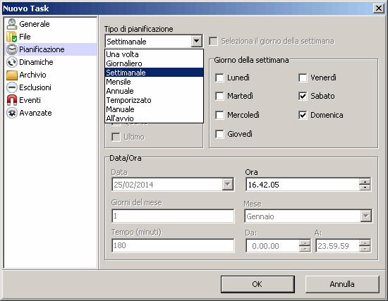 come impostare Backup automatico