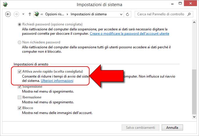avvio veloce Windows 8