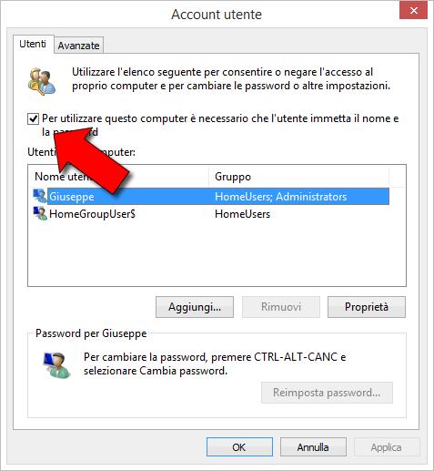login automatico windows 8