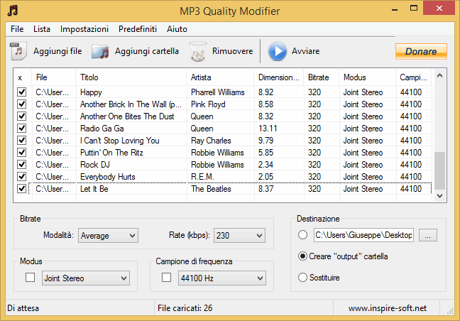 modificare bitrate MP3