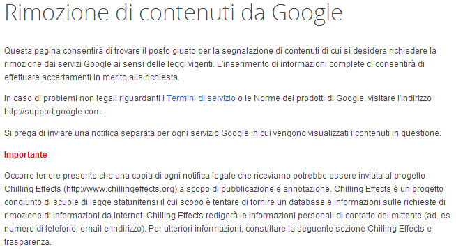 rimozione contenuti google