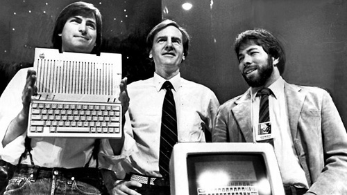 I co-fondatori di Apple al lancio di Apple IIc, 1984