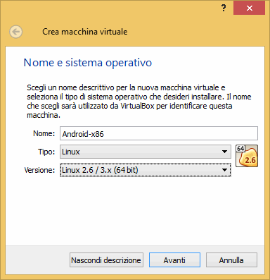 installare android su virtualbox