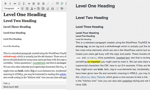 personalizzare stili nell'Editor WordPress