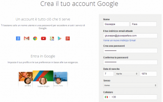registrarsi su google plus senza gmail