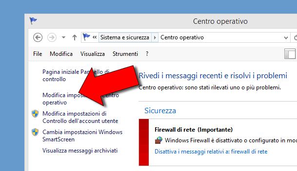 Come disattivare messaggi Centro Operativo