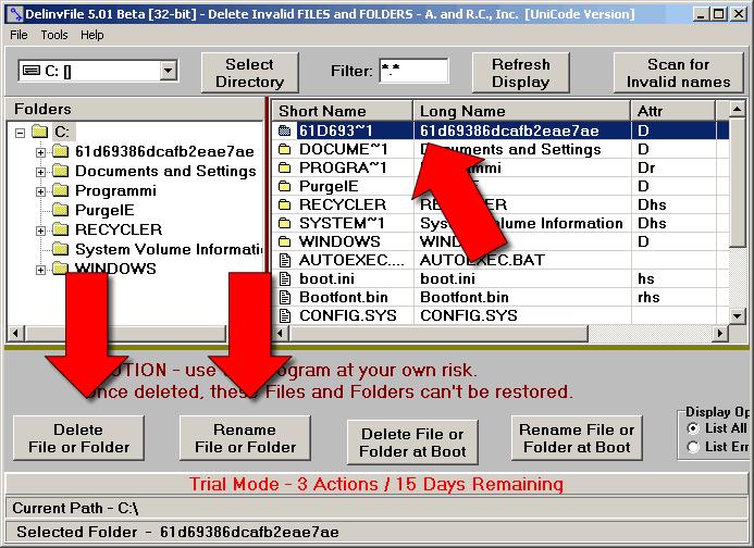 Come cancellare file invalidi o bloccati