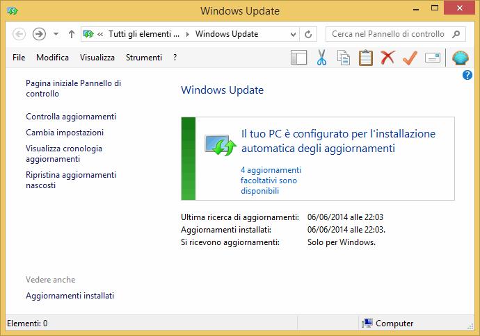 come aggiornare windows