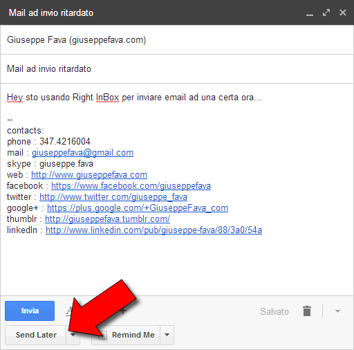 prova Come inviare email in ritardo con gmail
