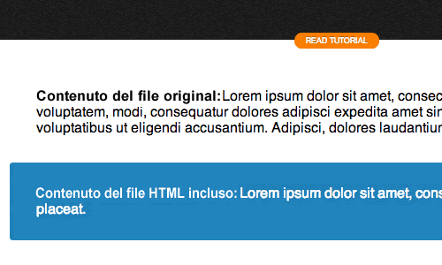 Come includere file HTML