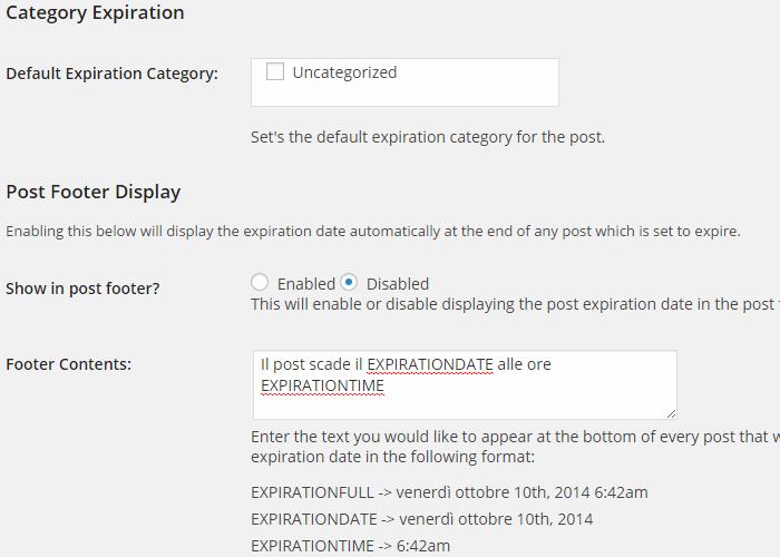 Impostare scadenza articoli WordPress