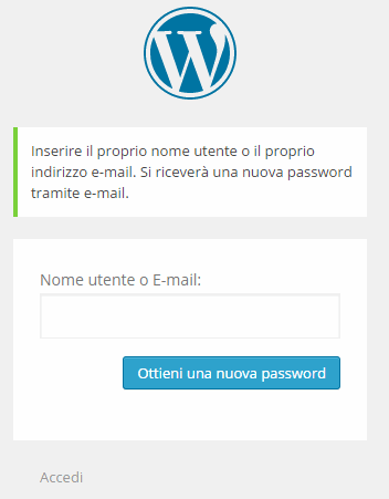 Come resettare password WordPress