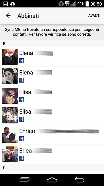 come sincronizzare foto contatti con Facebook