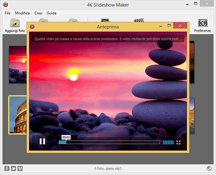 Creare slideshow con foto e musica