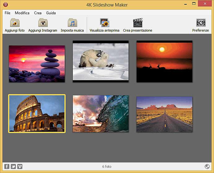 Creare slideshow con foto e musica