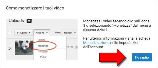 Attivare monetizzazione Youtube