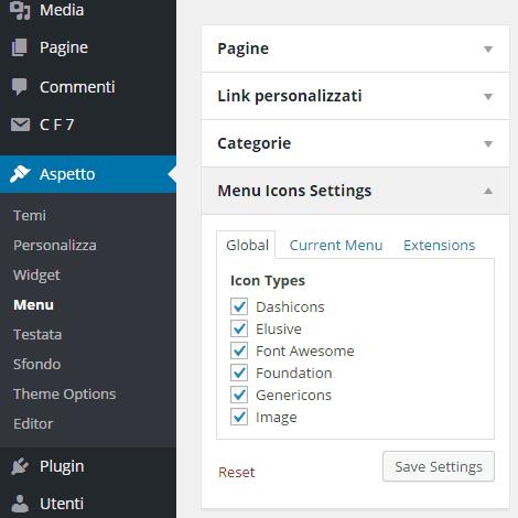 icone menù WordPress