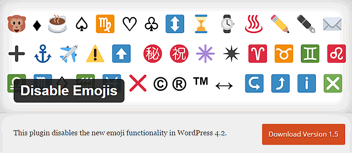 disabilitare emoticons WordPress