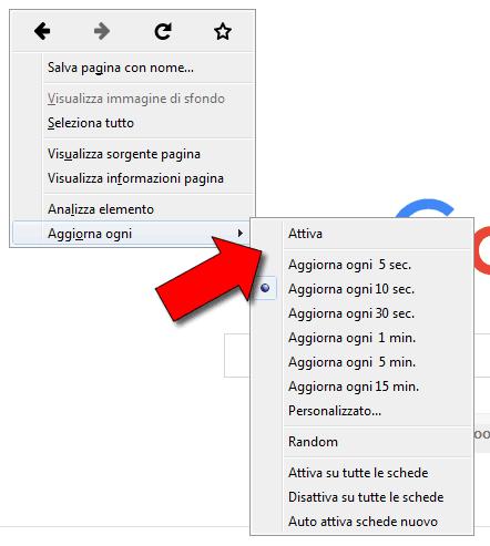 ricaricare automaticamente una pagina web