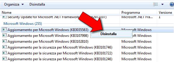 Rimuovere notifica aggiornamento Windows 10