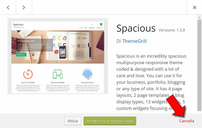 rimuovere Temi WordPress