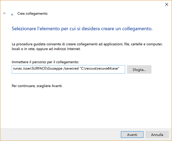 lanciare software come admin senza password
