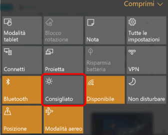 Disabilitare luminosità automatica Windows 10