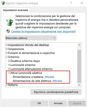Regolazione Luminosit Windows 7.Disabilitare Luminosita Automatica Windows 10