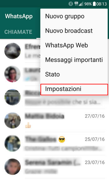 Come fare backup Whatsapp di foto video e chat
