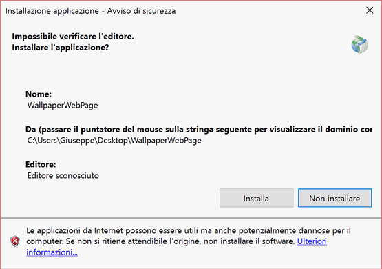 Impostare una pagina web come sfondo desktop in Windows 10