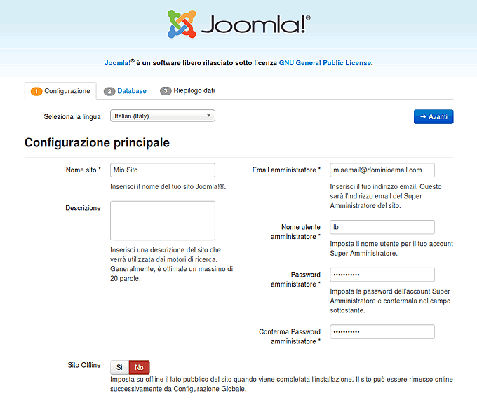 configurazione iniziale di Joomla