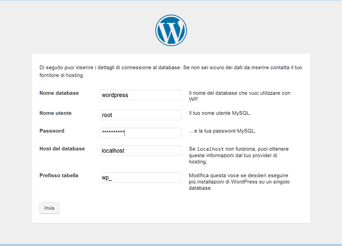 Configurazione WordPress
