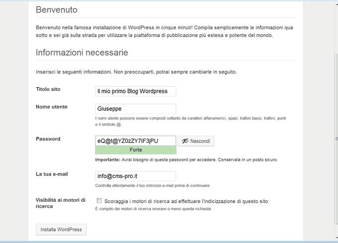Configurazione WordPress