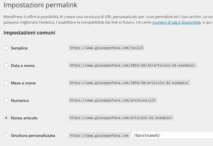 imposta permalink wordpress