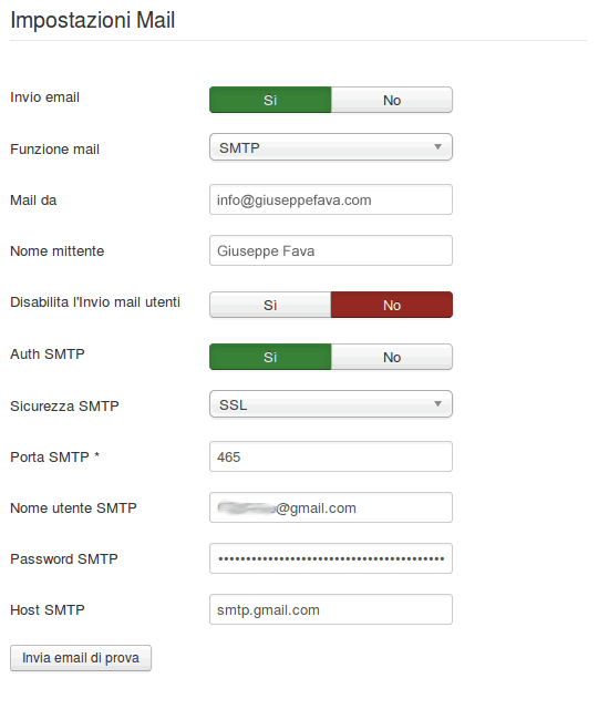 Impostazioni mail Joomla