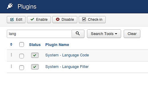 Joomla multilingua - System language plugins