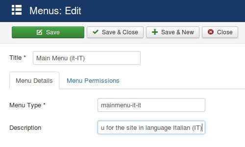 Joomla multilinuga - Main menu it-it