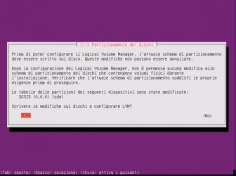 Installare Ubuntu 16.04 server - conferma LVM