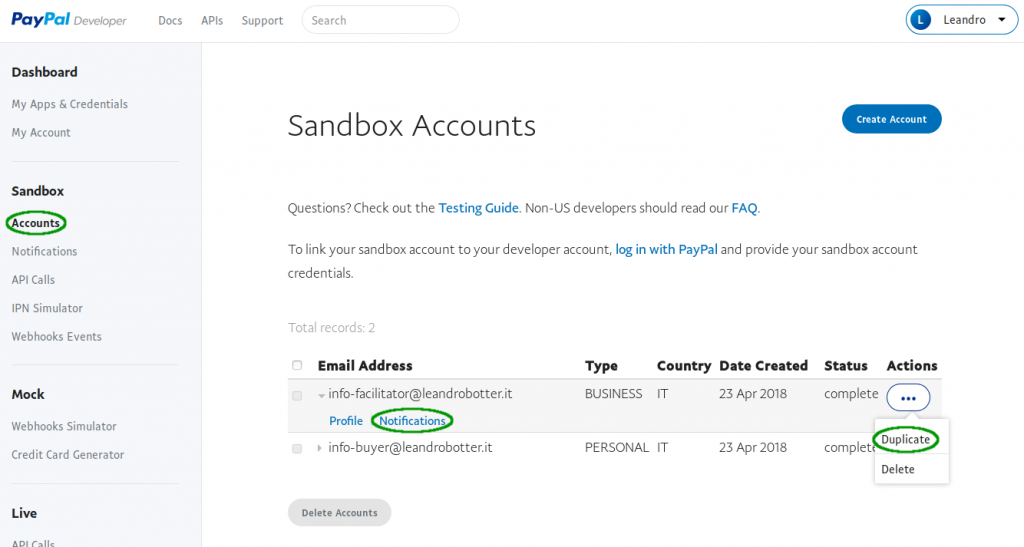 Paypal sandbox account