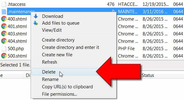 Wordpress bloccato manutenzione