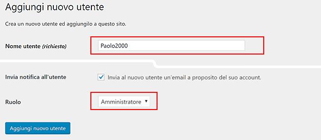 modificare username in wordpress