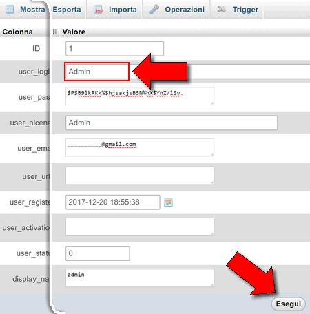 cambiare admin in WordPress