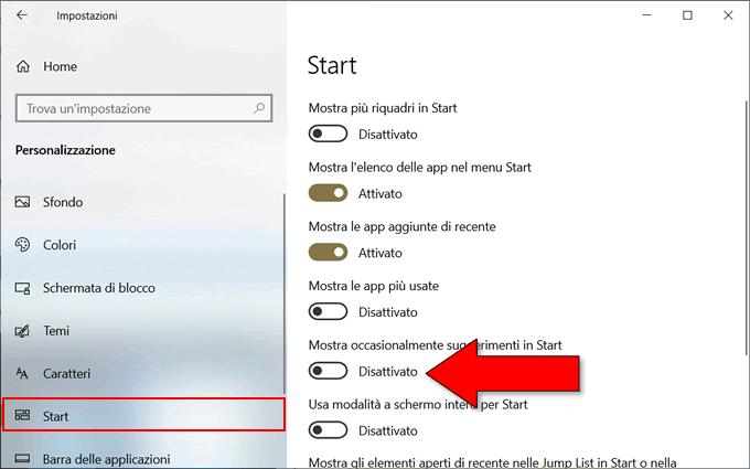 disattivare le pubblicità di windows 10